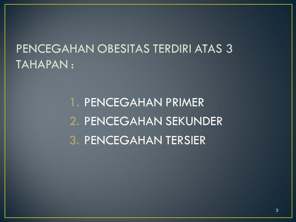 PENCEGAHAN OBESITAS TERDIRI ATAS 3 TAHAPAN : 1.PENCEGAHAN PRIMER 2.PENCEGAHAN SEKUNDER 3.PENCEGAHAN TERSIER 3