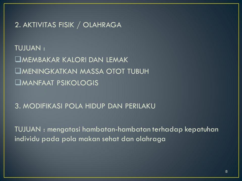 2. AKTIVITAS FISIK / OLAHRAGA TUJUAN :  MEMBAKAR KALORI DAN LEMAK  MENINGKATKAN MASSA OTOT TUBUH  MANFAAT PSIKOLOGIS 3. MODIFIKASI POLA HIDUP DAN P