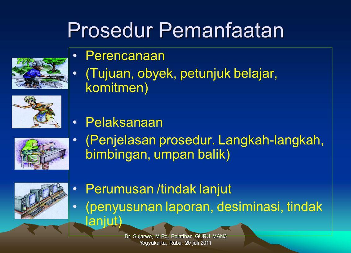 Dr. Sujarwo, M.Pd, Pelatihan GURU MAN3 Yogyakarta, Rabu, 20 juli 2011 Prosedur Pemanfaatan Perencanaan (Tujuan, obyek, petunjuk belajar, komitmen) Pel