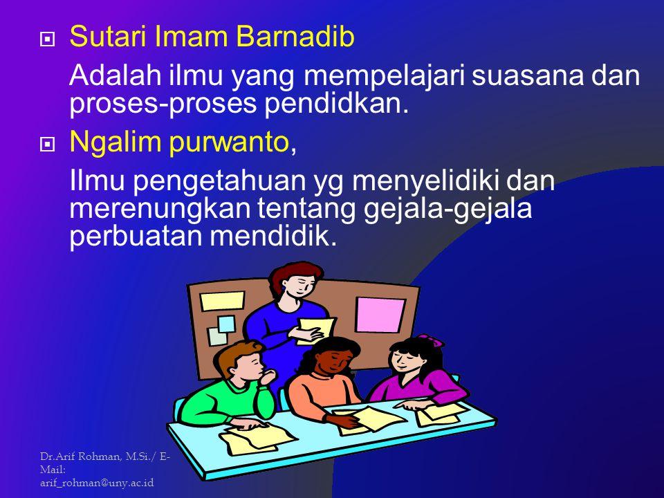 Sutari Imam Barnadib Adalah ilmu yang mempelajari suasana dan proses-proses pendidkan.  Ngalim purwanto, Ilmu pengetahuan yg menyelidiki dan merenu
