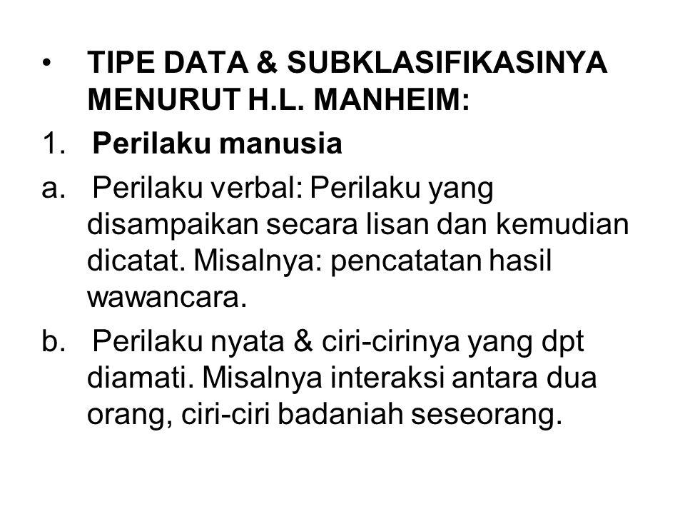 TIPE DATA & SUBKLASIFIKASINYA MENURUT H.L. MANHEIM: 1. Perilaku manusia a. Perilaku verbal: Perilaku yang disampaikan secara lisan dan kemudian dicata