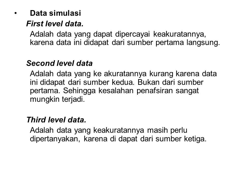 Data simulasi First level data. Adalah data yang dapat dipercayai keakuratannya, karena data ini didapat dari sumber pertama langsung. Second level da