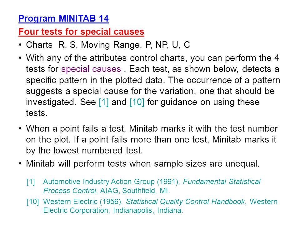 Program MINITAB 14 Four tests for special causes Charts R, S, Moving Range, P, NP, U, C With any of the attributes control charts, you can perform the