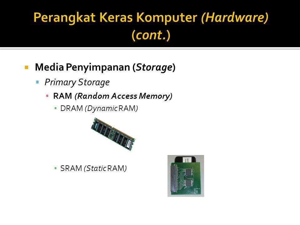  Media Penyimpanan (Storage)  Primary Storage ▪ RAM (Random Access Memory) ▪ DRAM (Dynamic RAM) ▪ SRAM (Static RAM)