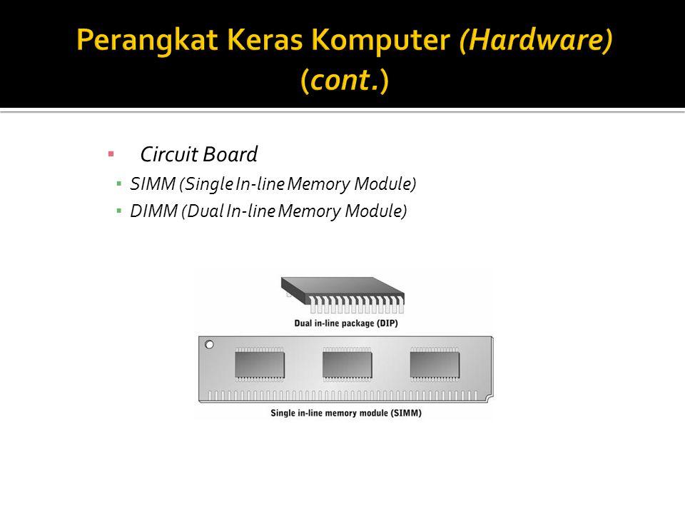 ▪ Circuit Board ▪ SIMM (Single In-line Memory Module) ▪ DIMM (Dual In-line Memory Module)