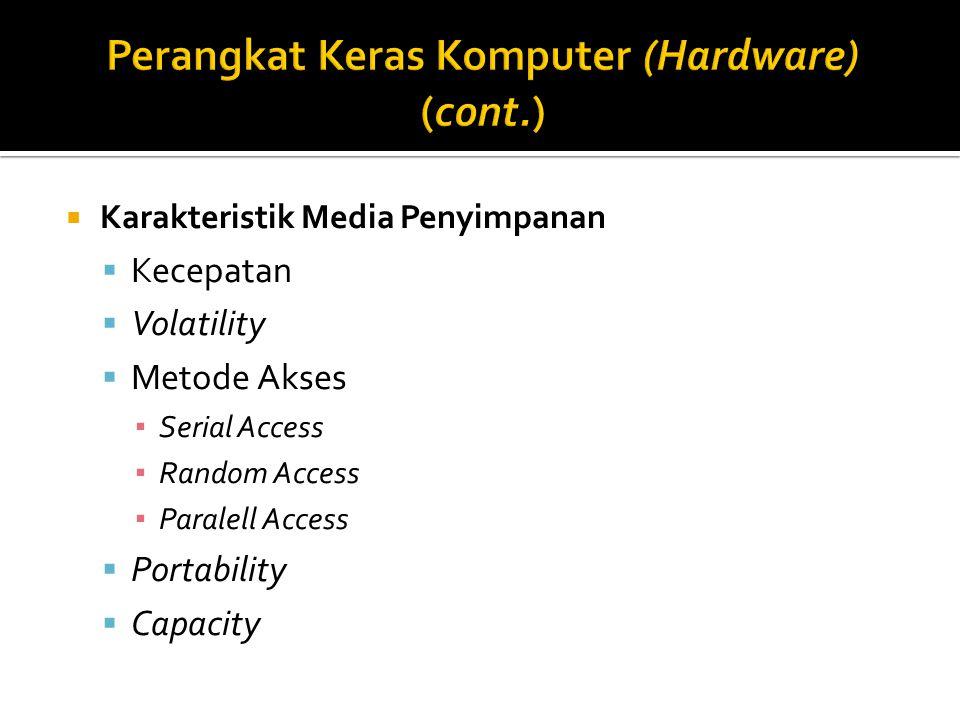  Karakteristik Media Penyimpanan  Kecepatan  Volatility  Metode Akses ▪ Serial Access ▪ Random Access ▪ Paralell Access  Portability  Capacity