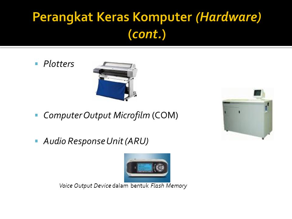  Plotters  Computer Output Microfilm (COM)  Audio Response Unit (ARU) Voice Output Device dalam bentuk Flash Memory