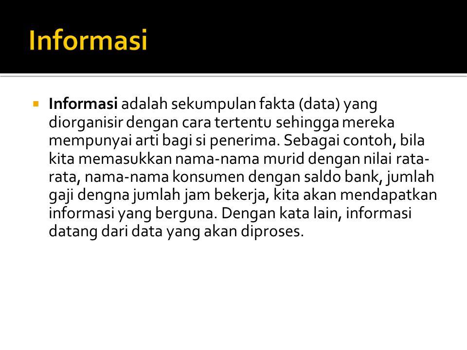  Informasi adalah sekumpulan fakta (data) yang diorganisir dengan cara tertentu sehingga mereka mempunyai arti bagi si penerima.