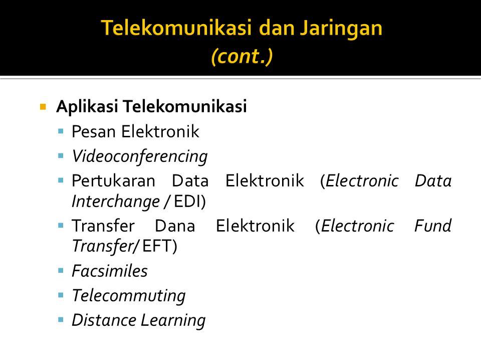  Aplikasi Telekomunikasi  Pesan Elektronik  Videoconferencing  Pertukaran Data Elektronik (Electronic Data Interchange / EDI)  Transfer Dana Elektronik (Electronic Fund Transfer/ EFT)  Facsimiles  Telecommuting  Distance Learning