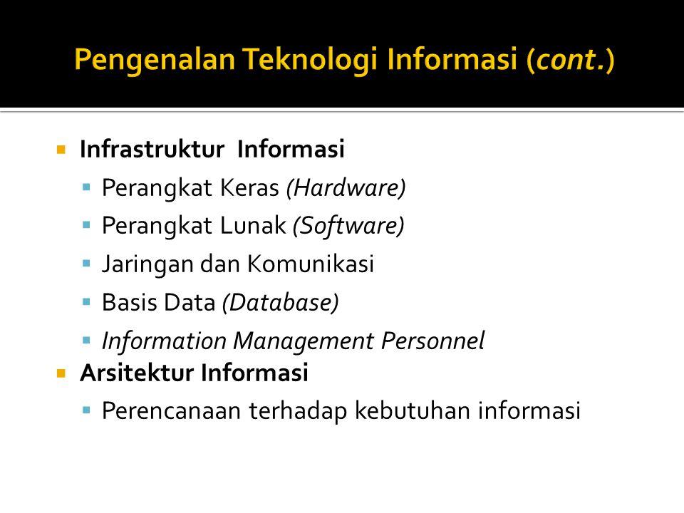  Infrastruktur Informasi  Perangkat Keras (Hardware)  Perangkat Lunak (Software)  Jaringan dan Komunikasi  Basis Data (Database)  Information Management Personnel  Arsitektur Informasi  Perencanaan terhadap kebutuhan informasi
