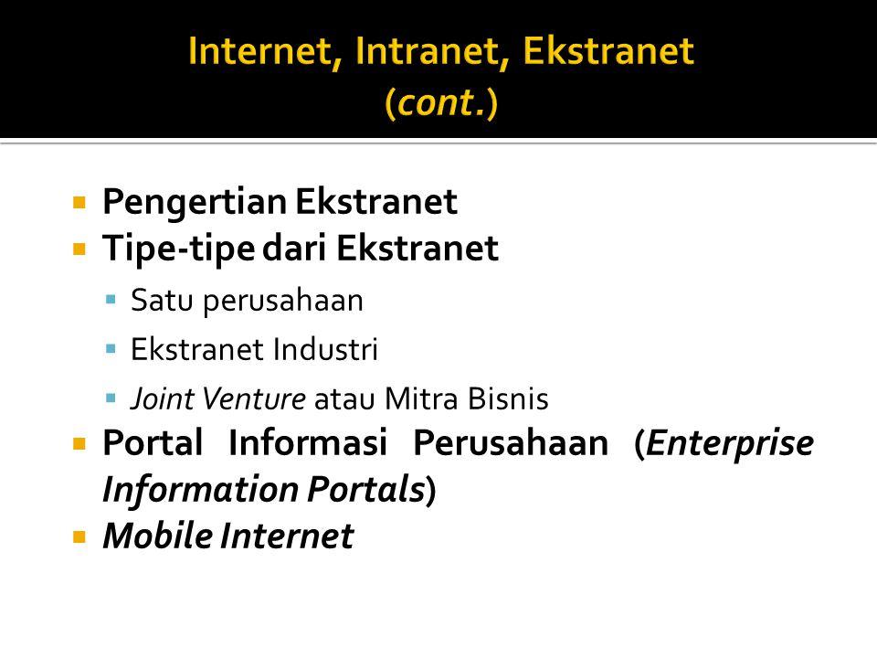 Pengertian Ekstranet  Tipe-tipe dari Ekstranet  Satu perusahaan  Ekstranet Industri  Joint Venture atau Mitra Bisnis  Portal Informasi Perusahaan (Enterprise Information Portals)  Mobile Internet