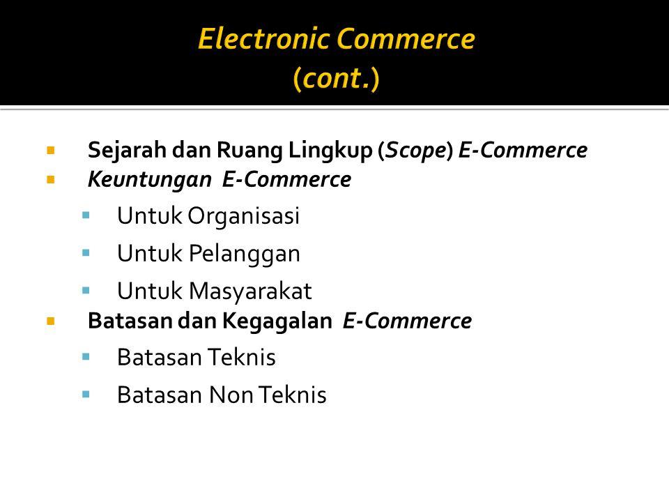  Sejarah dan Ruang Lingkup (Scope) E-Commerce  Keuntungan E-Commerce  Untuk Organisasi  Untuk Pelanggan  Untuk Masyarakat  Batasan dan Kegagalan E-Commerce  Batasan Teknis  Batasan Non Teknis