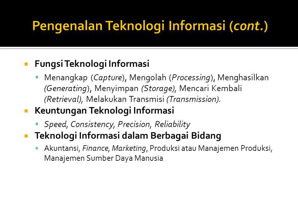  Fungsi Teknologi Informasi  Menangkap (Capture), Mengolah (Processing), Menghasilkan (Generating), Menyimpan (Storage), Mencari Kembali (Retrieval), Melakukan Transmisi (Transmission).