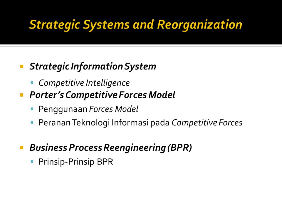  Strategic Information System  Competitive Intelligence  Porter's Competitive Forces Model  Penggunaan Forces Model  Peranan Teknologi Informasi