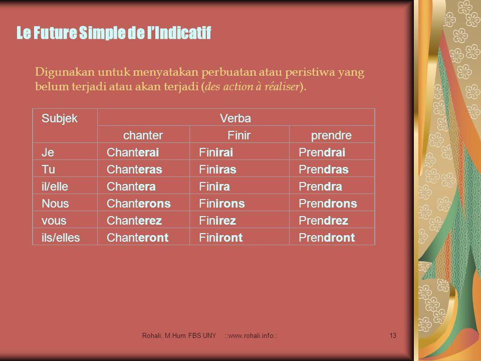 Rohali, M.Hum FBS UNY ::www.rohali.info::12 Le Plus-que-parfait de l'Indicatif Menggambarkan kejadian atau peristiwa yang telah terjadi atau selesai (