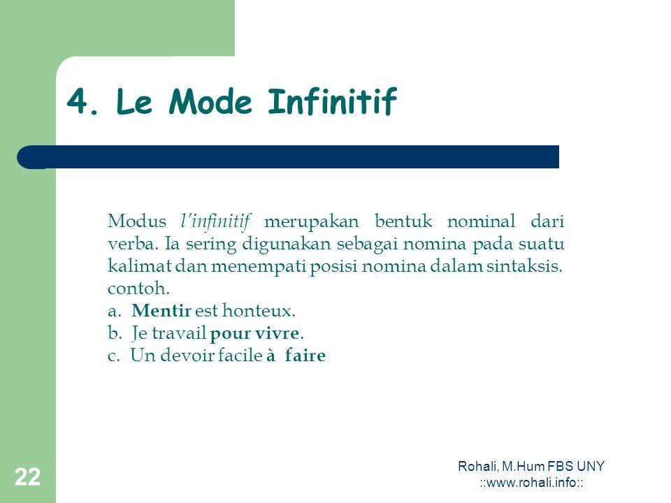 Rohali, M.Hum FBS UNY ::www.rohali.info::21 Digunakan untuk menyatakan perintah. Bentuknya seperti pada modus subjonctif présent untuk orang pertama d