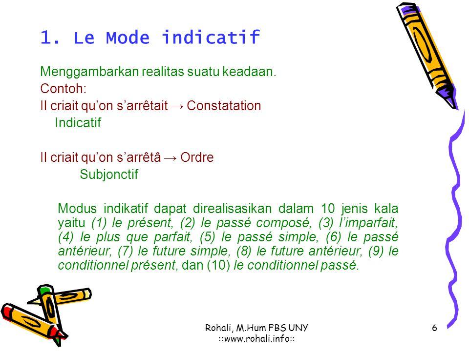 Rohali, M.Hum FBS UNY ::www.rohali.info:: 5 Modus (Modes) Bhs. Prancis  Modus personal ( mode personnel ): yaitu modus yang menggambarkan sikap penut