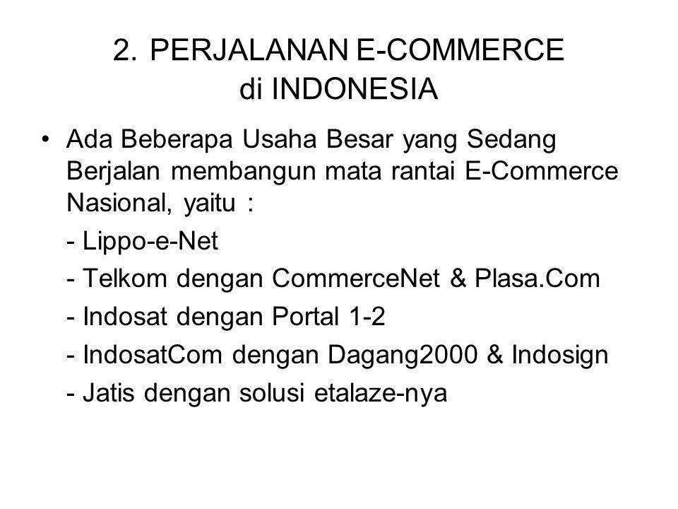 2. PERJALANAN E-COMMERCE di INDONESIA Ada Beberapa Usaha Besar yang Sedang Berjalan membangun mata rantai E-Commerce Nasional, yaitu : - Lippo-e-Net -