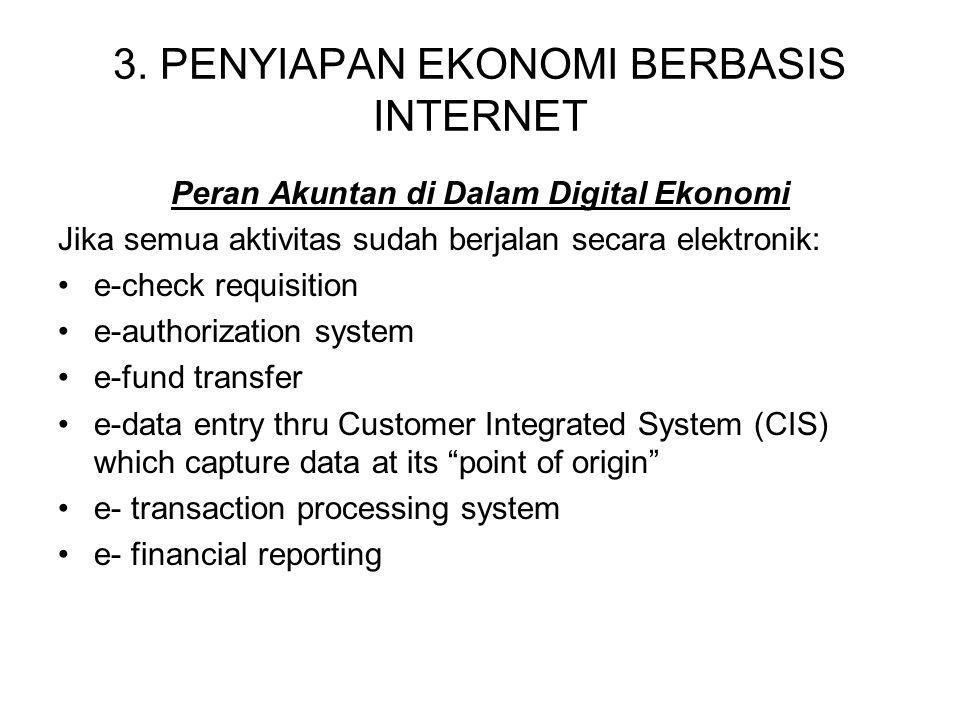 3. PENYIAPAN EKONOMI BERBASIS INTERNET Peran Akuntan di Dalam Digital Ekonomi Jika semua aktivitas sudah berjalan secara elektronik: e-check requisiti