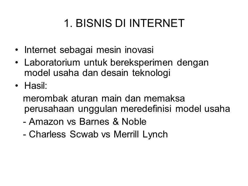 1. BISNIS DI INTERNET Internet sebagai mesin inovasi Laboratorium untuk bereksperimen dengan model usaha dan desain teknologi Hasil: merombak aturan m