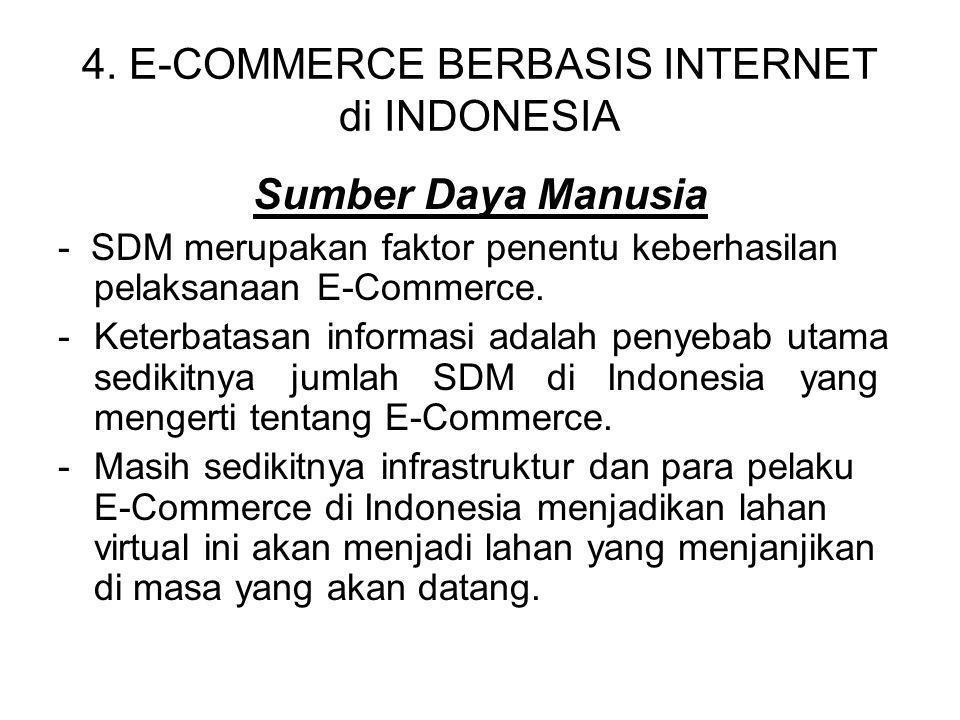 4. E-COMMERCE BERBASIS INTERNET di INDONESIA Sumber Daya Manusia - SDM merupakan faktor penentu keberhasilan pelaksanaan E-Commerce. -Keterbatasan inf
