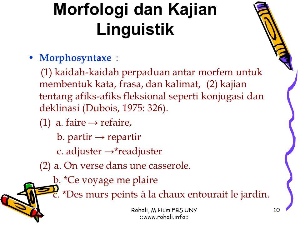 9 Rohali, M.Hum FBS UNY ::www.rohali.info:: Morfologi dan Kajian Linguistik Contoh Morphophonologie : Contoh Morphophonologie : (1) La structure phono