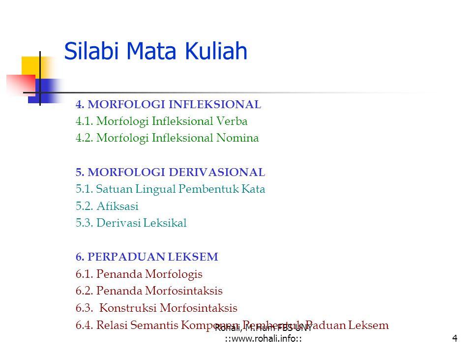 Rohali, M.Hum FBS UNY ::www.rohali.org::3 Silabi Mata Kuliah 1.MORFOLOGI DAN KAJIAN LINGUISTIK 1.1. Kajian Morfologi 1.2. Morfologi dan Kajian Linguis
