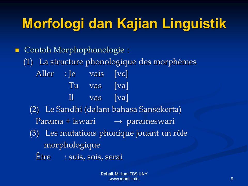 8 Rohali, M.Hum FBS UNY ::www.rohali.info:: Morfologi dan Kajian Linguistik Morphophonologie : Morphophonologie : (a) Struktur fonologis morfem-morfem