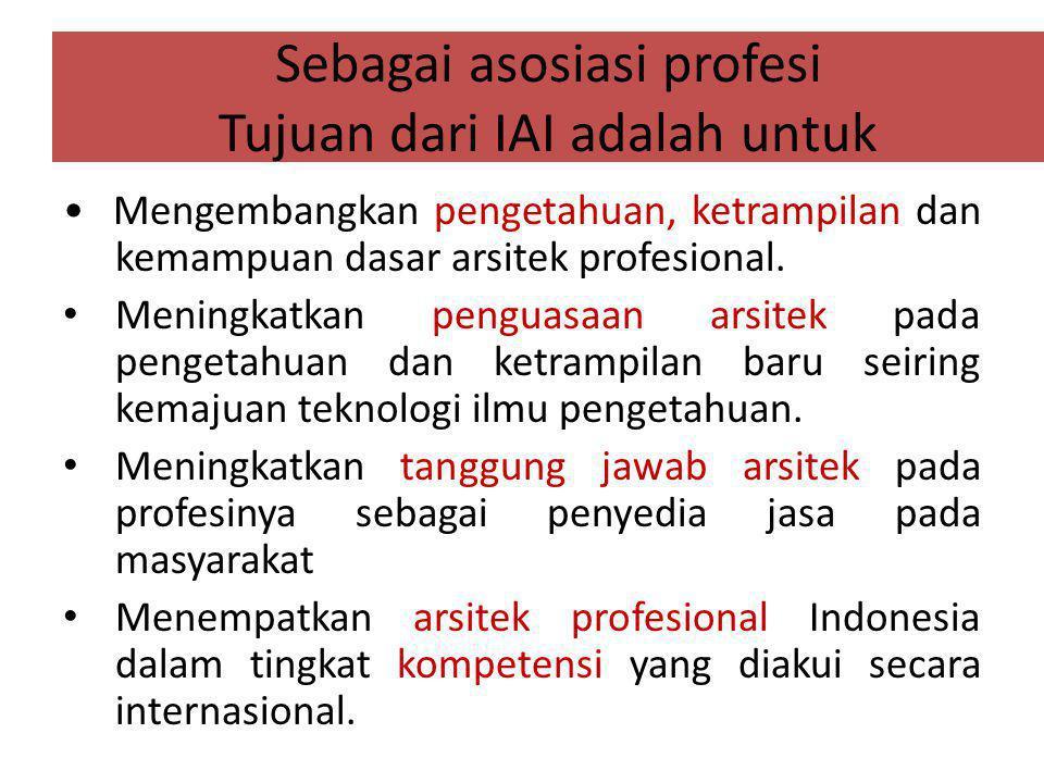 Sebagai asosiasi profesi Tujuan dari IAI adalah untuk Mengembangkan pengetahuan, ketrampilan dan kemampuan dasar arsitek profesional.