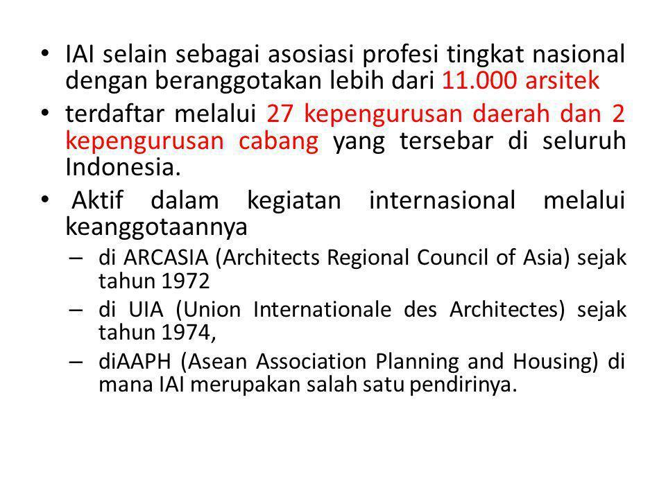 IAI selain sebagai asosiasi profesi tingkat nasional dengan beranggotakan lebih dari 11.000 arsitek terdaftar melalui 27 kepengurusan daerah dan 2 kepengurusan cabang yang tersebar di seluruh Indonesia.