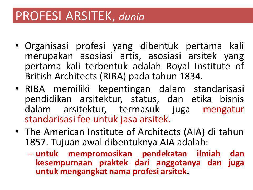 Organisasi profesi yang dibentuk pertama kali merupakan asosiasi artis, asosiasi arsitek yang pertama kali terbentuk adalah Royal Institute of British Architects (RIBA) pada tahun 1834.