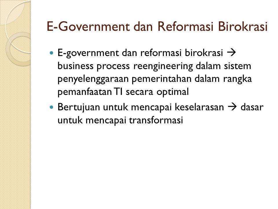 E-Government dan Reformasi Birokrasi E-government dan reformasi birokrasi  business process reengineering dalam sistem penyelenggaraan pemerintahan d