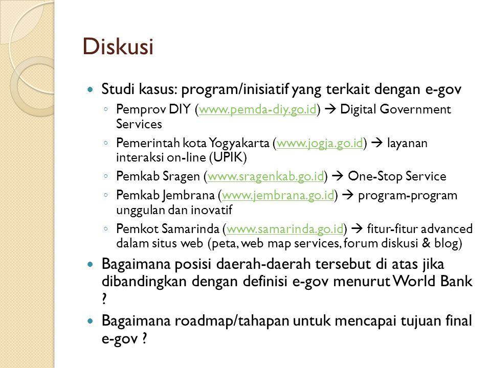 Diskusi Studi kasus: program/inisiatif yang terkait dengan e-gov ◦ Pemprov DIY (www.pemda-diy.go.id)  Digital Government Serviceswww.pemda-diy.go.id