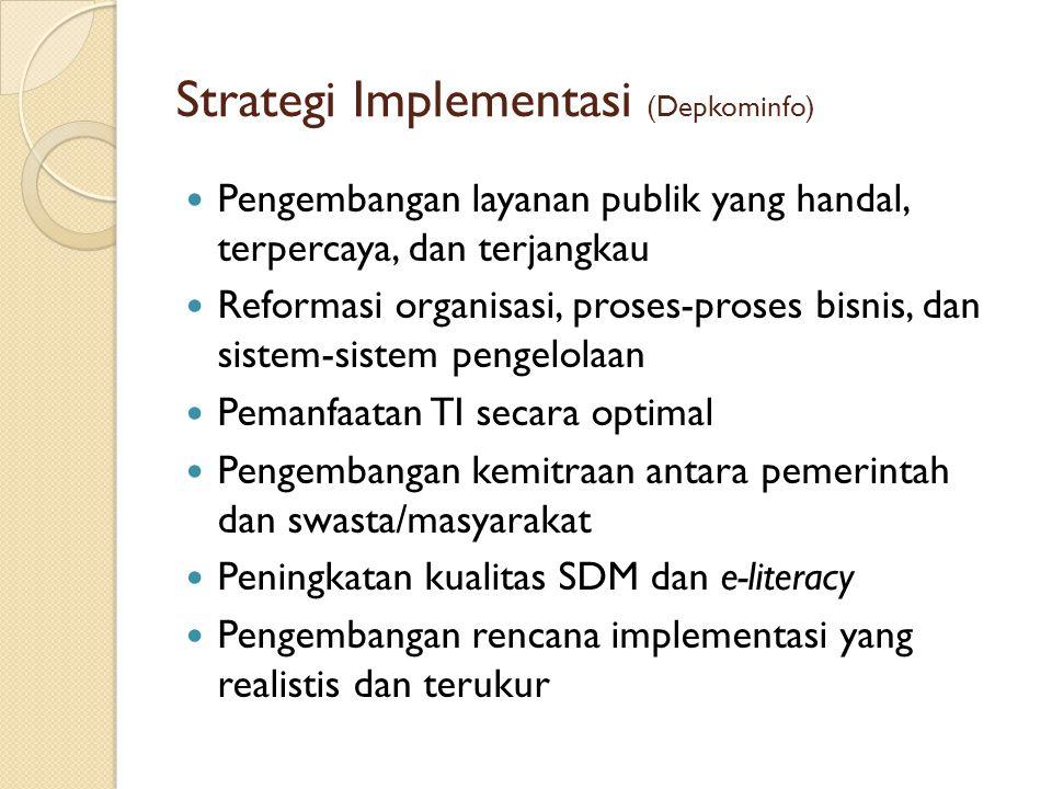 Strategi Implementasi (Depkominfo) Pengembangan layanan publik yang handal, terpercaya, dan terjangkau Reformasi organisasi, proses-proses bisnis, dan