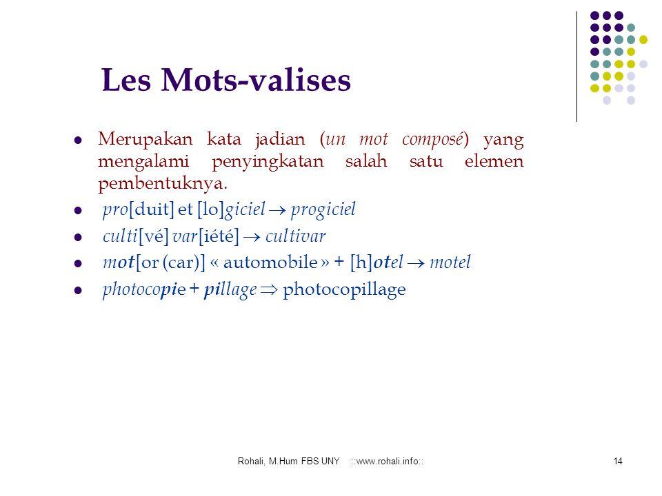 Rohali, M.Hum FBS UNY ::www.rohali.info::13 Composition Composition: PopulaireSavante Proses pembentukan kata dengan cara penambahan satu kata dengan