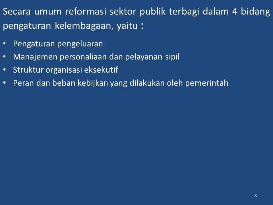 Secara umum reformasi sektor publik terbagi dalam 4 bidang pengaturan kelembagaan, yaitu : Pengaturan pengeluaran Manajemen personaliaan dan pelayanan sipil Struktur organisasi eksekutif Peran dan beban kebijkan yang dilakukan oleh pemerintah 3