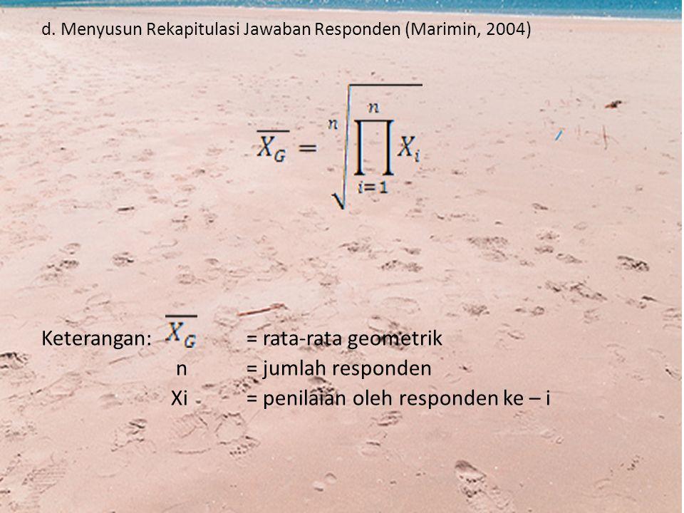 d. Menyusun Rekapitulasi Jawaban Responden (Marimin, 2004) Keterangan: = rata-rata geometrik n= jumlah responden Xi= penilaian oleh responden ke – i