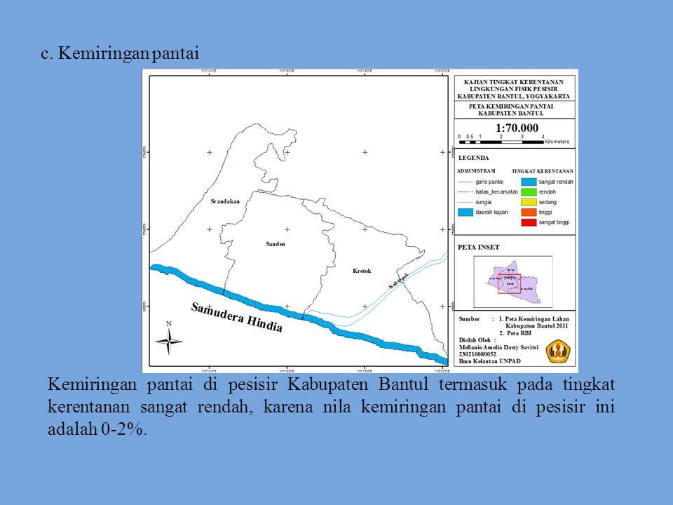 c. Kemiringan pantai Kemiringan pantai di pesisir Kabupaten Bantul termasuk pada tingkat kerentanan sangat rendah, karena nila kemiringan pantai di pe