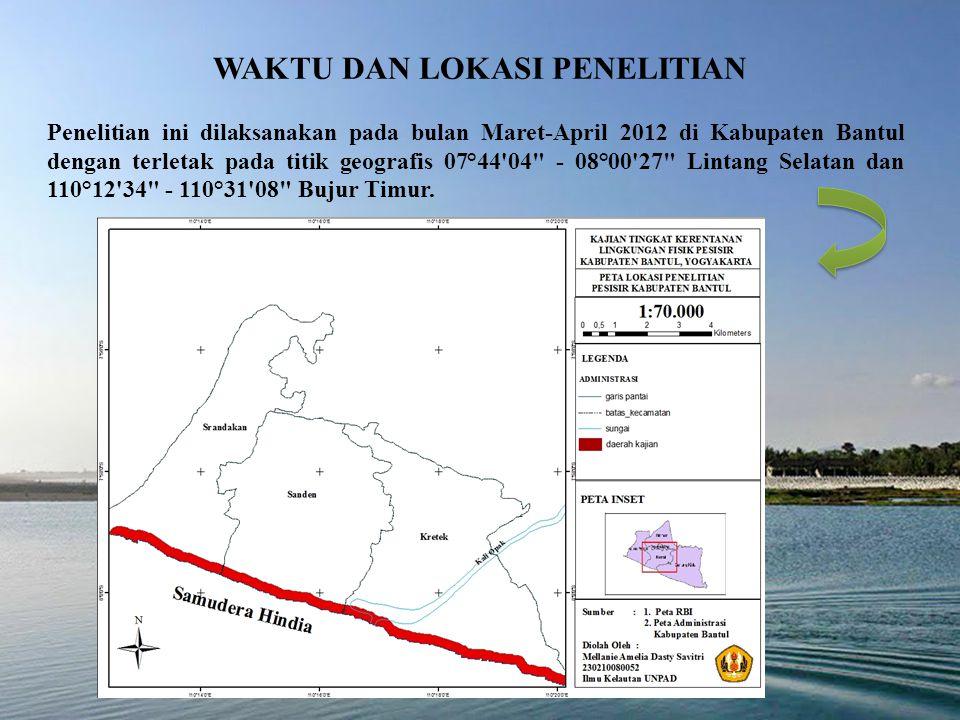 WAKTU DAN LOKASI PENELITIAN Penelitian ini dilaksanakan pada bulan Maret-April 2012 di Kabupaten Bantul dengan terletak pada titik geografis 07°44 04 ‑ 08°00 27 Lintang Selatan dan 110°12 34 - 110°31 08 Bujur Timur.