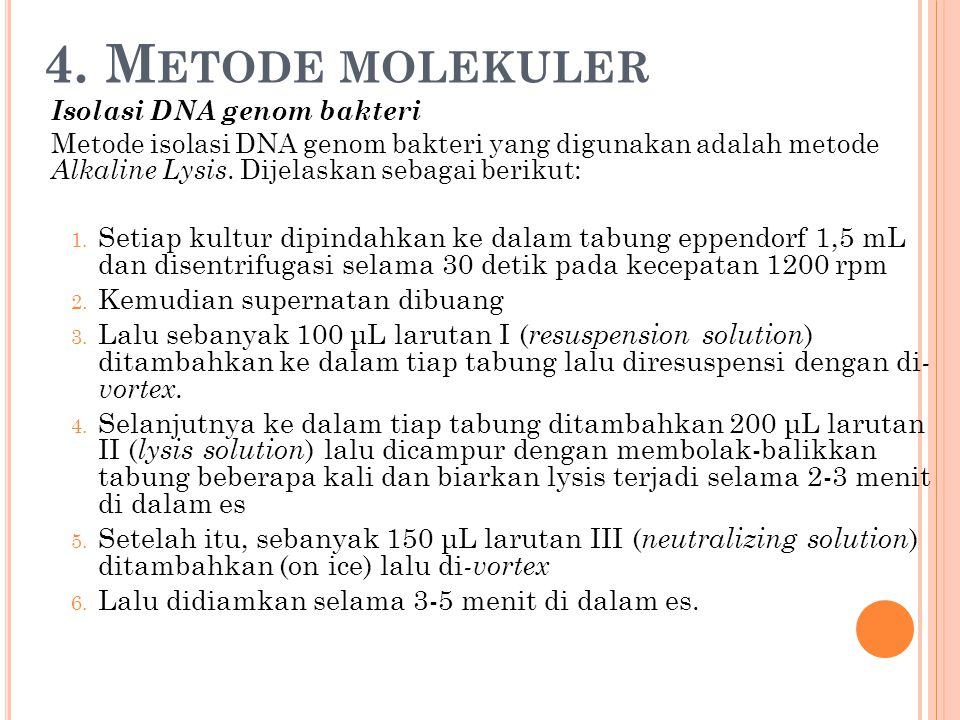 4. M ETODE MOLEKULER Isolasi DNA genom bakteri Metode isolasi DNA genom bakteri yang digunakan adalah metode Alkaline Lysis. Dijelaskan sebagai beriku