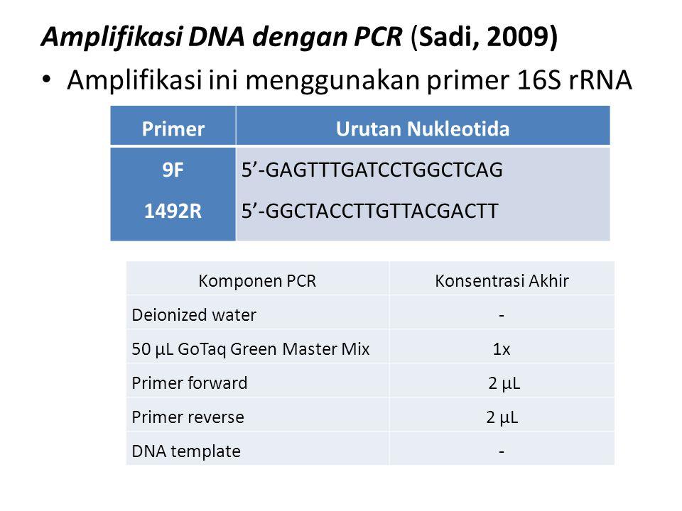 Amplifikasi DNA dengan PCR (Sadi, 2009) Amplifikasi ini menggunakan primer 16S rRNA PrimerUrutan Nukleotida 9F 1492R 5'-GAGTTTGATCCTGGCTCAG 5'-GGCTACC