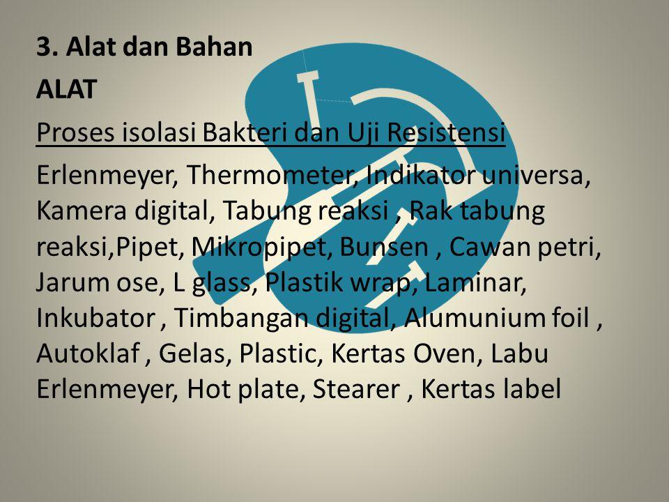 3. Alat dan Bahan ALAT Proses isolasi Bakteri dan Uji Resistensi Erlenmeyer, Thermometer, Indikator universa, Kamera digital, Tabung reaksi, Rak tabun