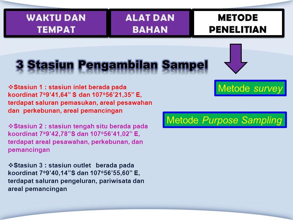 """Metode survey Metode Purpose Sampling  Stasiun 1 : stasiun inlet berada pada koordinat 7 o 9'41,64"""" S dan 107 o 56'21,35"""" E, terdapat saluran pemasuk"""