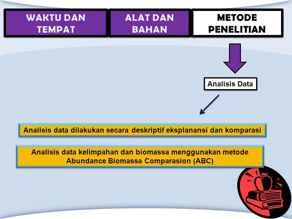 Analisis data dilakukan secara deskriptif eksplanansi dan komparasi Analisis Data Analisis data kelimpahan dan biomassa menggunakan metode Abundance B