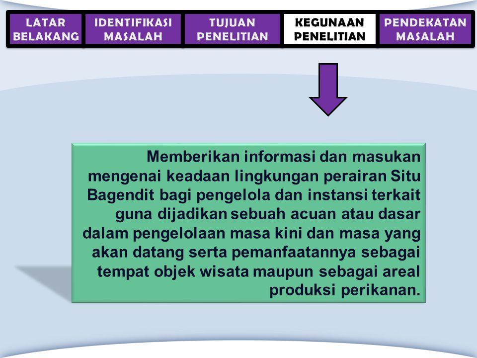 Memberikan informasi dan masukan mengenai keadaan lingkungan perairan Situ Bagendit bagi pengelola dan instansi terkait guna dijadikan sebuah acuan at