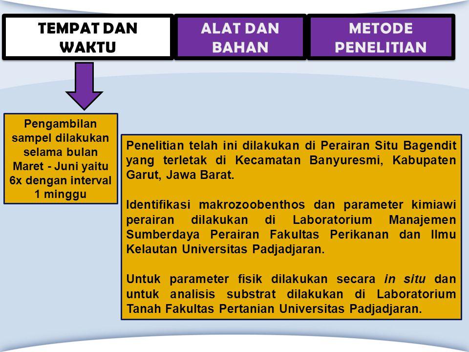 Penelitian telah ini dilakukan di Perairan Situ Bagendit yang terletak di Kecamatan Banyuresmi, Kabupaten Garut, Jawa Barat. Identifikasi makrozoobent
