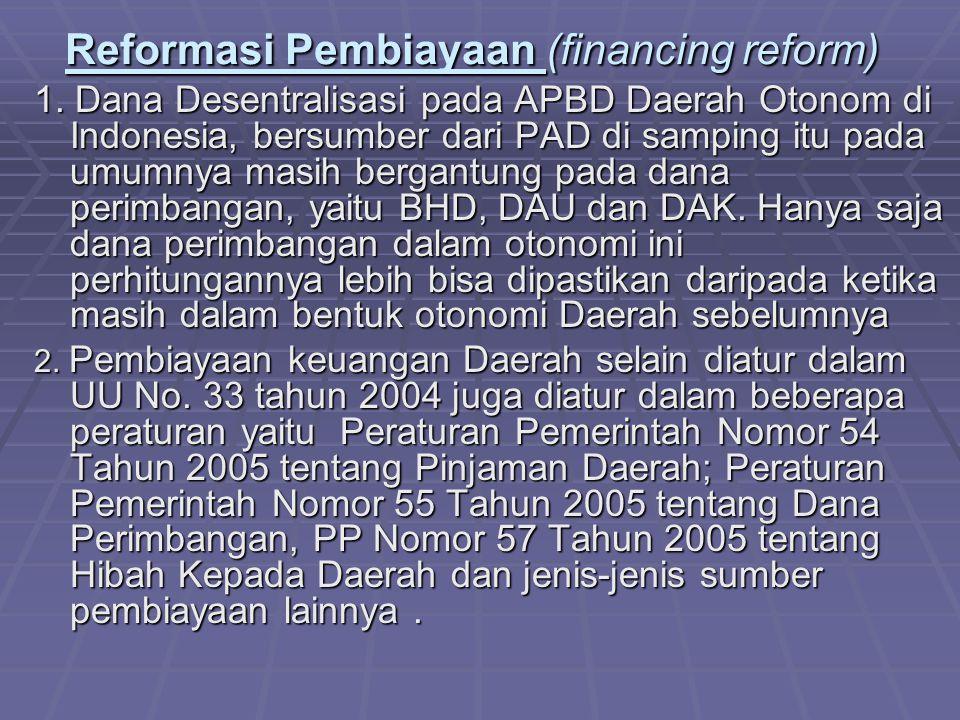 Reformasi Pembiayaan (financing reform) 1.