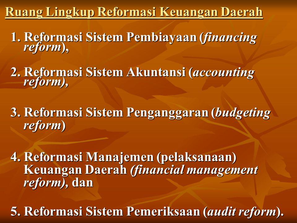 Ruang Lingkup Reformasi Keuangan Daerah 1.Reformasi Sistem Pembiayaan (financing reform), 2.