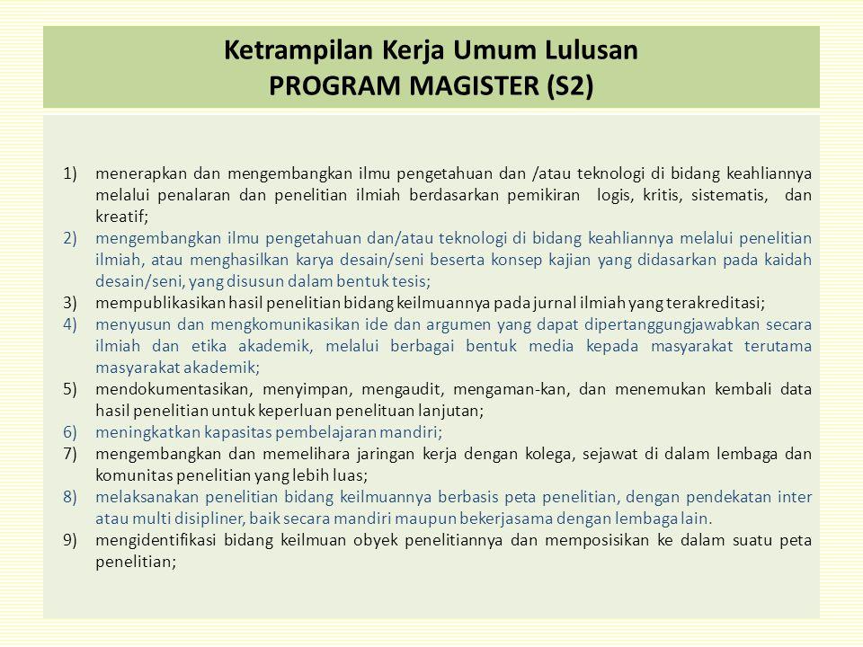 Ketrampilan Kerja Umum Lulusan PROGRAM MAGISTER (S2) 1)menerapkan dan mengembangkan ilmu pengetahuan dan /atau teknologi di bidang keahliannya melalui