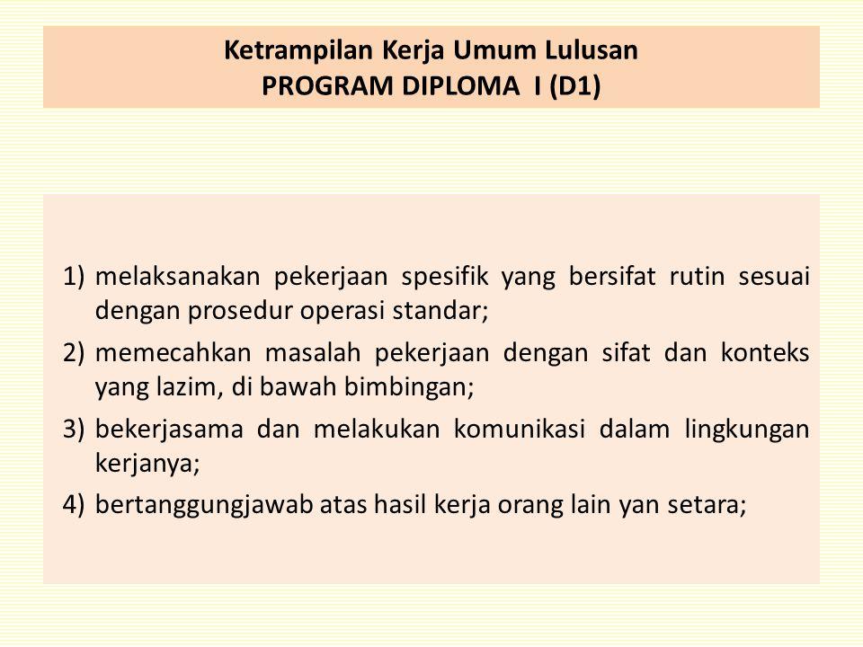 Ketrampilan Kerja Umum Lulusan PROGRAM DIPLOMA I (D1) 1)melaksanakan pekerjaan spesifik yang bersifat rutin sesuai dengan prosedur operasi standar; 2)